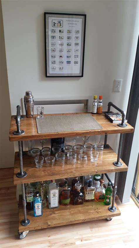 Diy Pipe And Wood Bar Cart