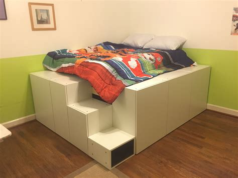 Diy Platform Bed From Cabinets