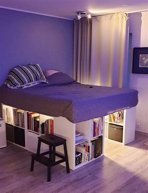 Diy Platform Bed With Ikea Shelves