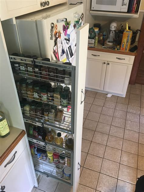 Diy Pull Out Pantry Shelves Side Of Refrigerator