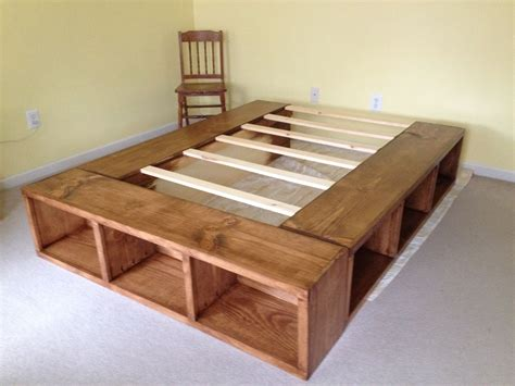 Diy Queen Bed With Ope Storage Buildings