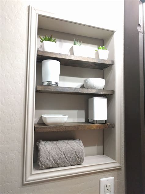 Diy Recessed Shelves In Bathroom