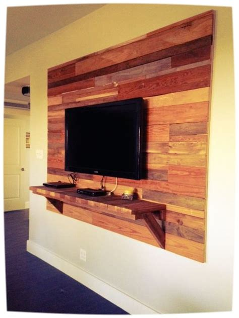 Diy Reclaimed Wood Wall Around Tv