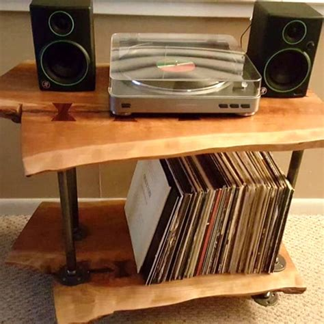 Diy Record Player Stand Wood Slab