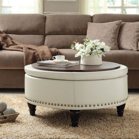 Diy Round Coffee Table Into Tufted Ottoman