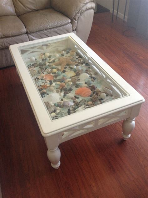 Diy Round Coffee Table With Seashell Shadow Box