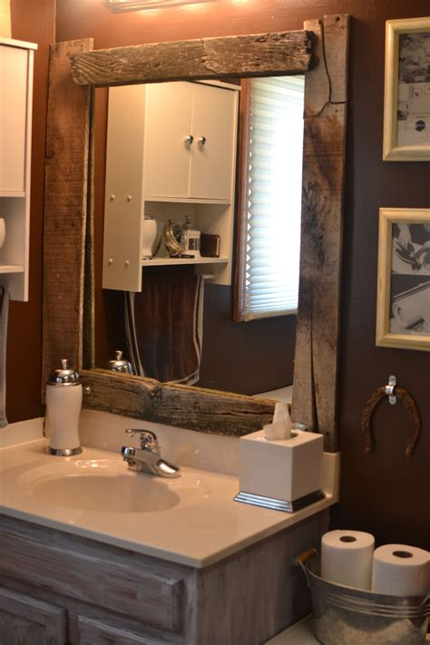 Diy Rustic Bathroom Mirror Frame