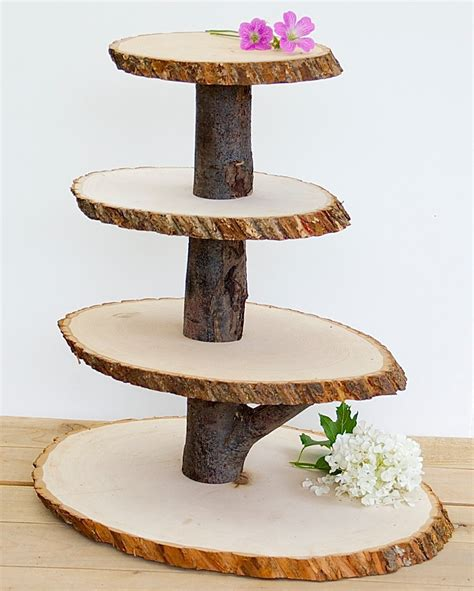 Diy Rustic Cupcake Stand From Tree Logs