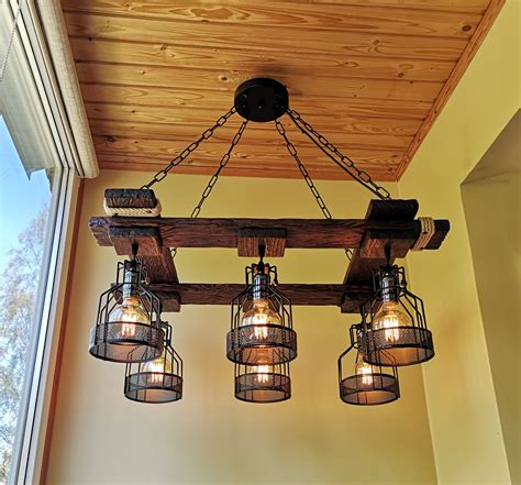 Diy Rustic Dining Room Wood Lamps