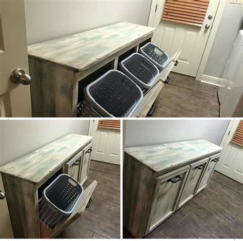 Diy Rustic Tv Stand W Baskets Containers