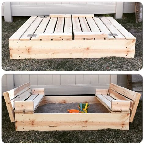 Diy Sandbox With Folding Seats