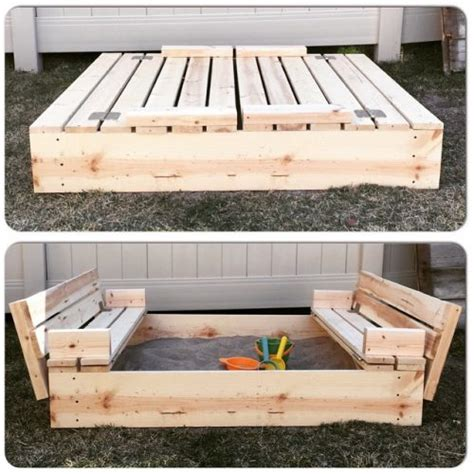 Diy Sandbox With Seats And Cover