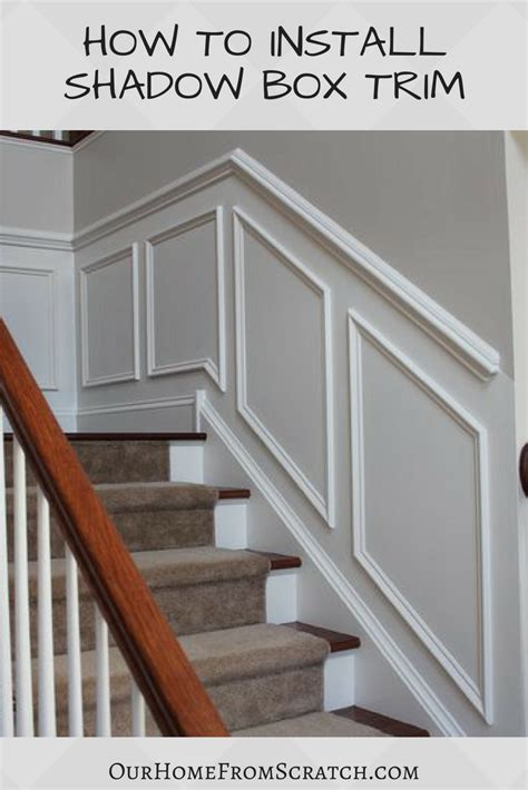 Diy Shadow Box Wainscoting On Stairway