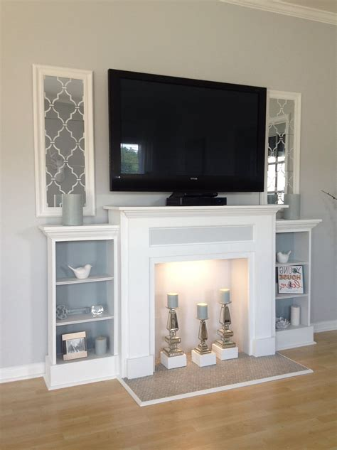 Diy Shelving Tv Stand Above Fireplace