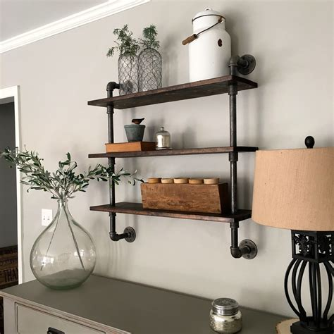 Diy Shelving With Pipes On Wall