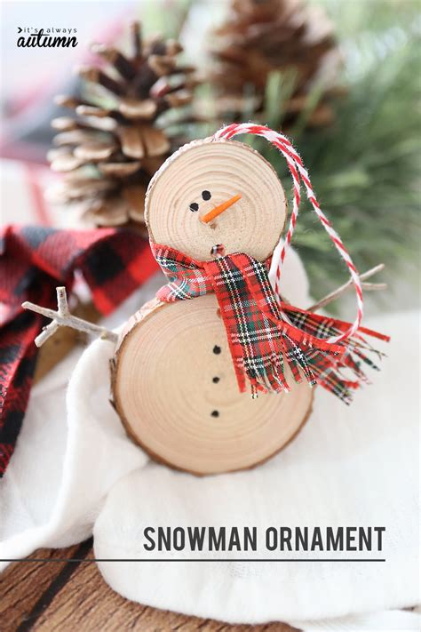 Diy Snowman Ornament From Wood Slice