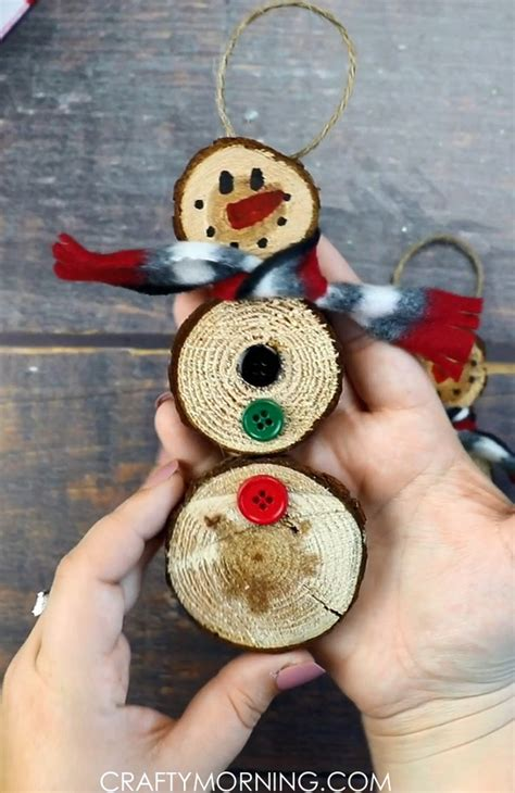 Diy Snowman Ornament From Wood Slice Christmas