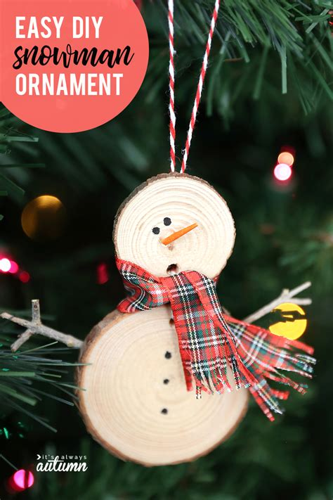 Diy Snowman Ornament From Wood Slice Crafts