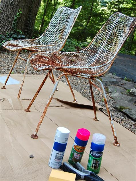 Diy Spray Painting Metal Furniture
