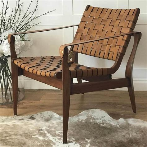 Diy Square Leather And Wood Armchairs