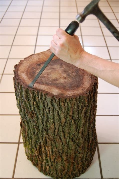 Diy Stump Table With Bark