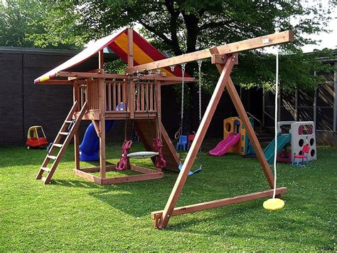 Diy Swing Set Paln For Sloped Yard