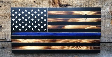 Diy Thin Blue Line Wood Flag