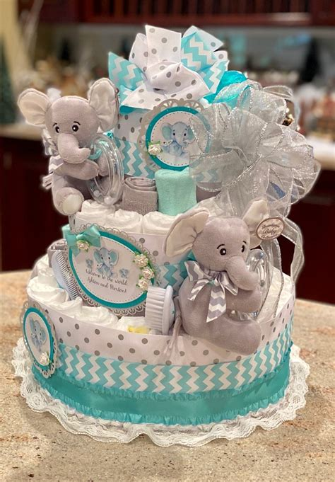 Diy Twin Baby Shower Diaper Cakes