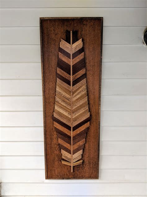 Diy Two Stained Wood Feather Cutouts