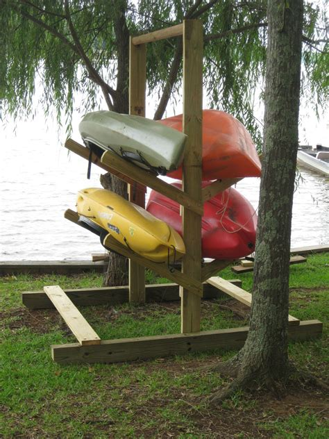 Diy Vertical Standing Kayak Stand Out Of Wood