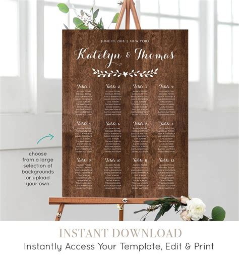 Diy Wedding Seating Chart Template