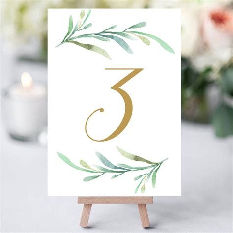 Diy Wedding Table Number Templates
