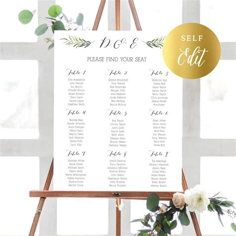 Diy Wedding Table Plan Template