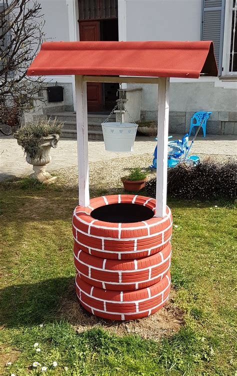 Diy Wishing Well Made Out Of Tires