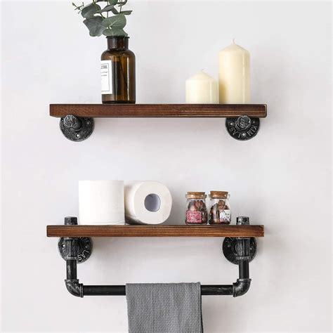 Diy Wood And Iron Pipe Wall Shelf