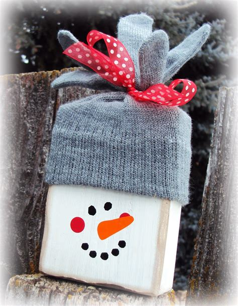 Diy Wood Block Snowman Craft