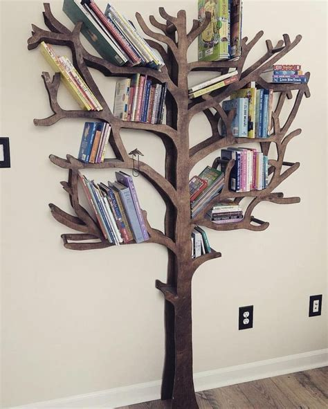 Diy Wood Bookcase With Tree Branches