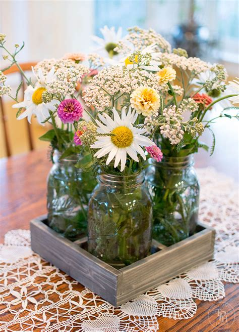 Diy Wood Centerpiece With Mason Jars