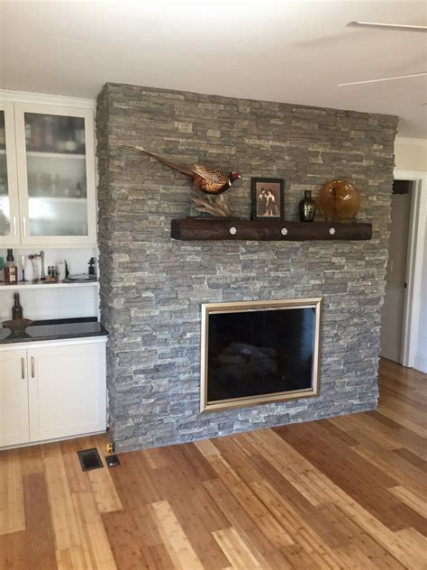 Diy Wood Fireplace Covering Over Sandstone