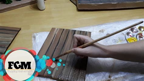Diy Wood Grain Painting Cardboard
