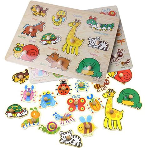 Diy Wood Jigsaw Animal Puzzle Toddlers Playing