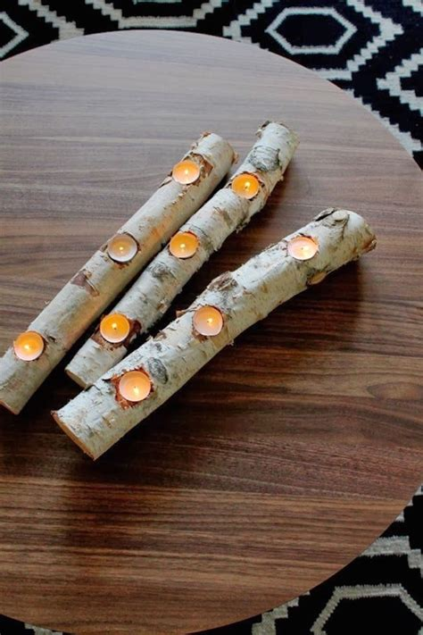 Diy Wood Log Candle Holder
