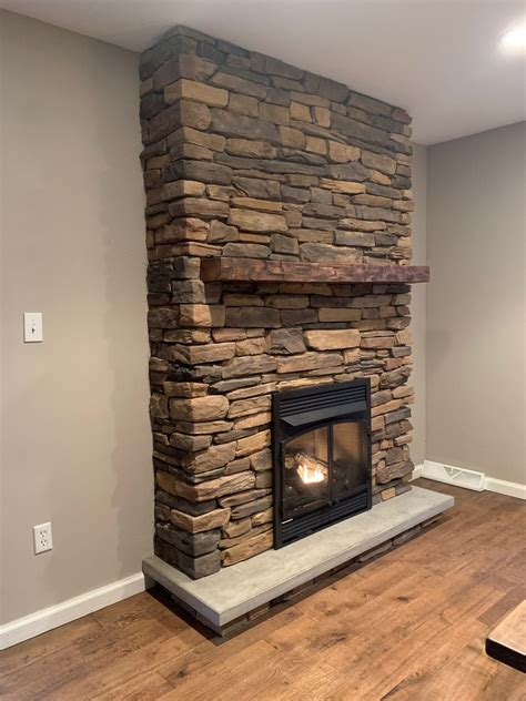 Diy Wood Mantel On Stone Fireplace