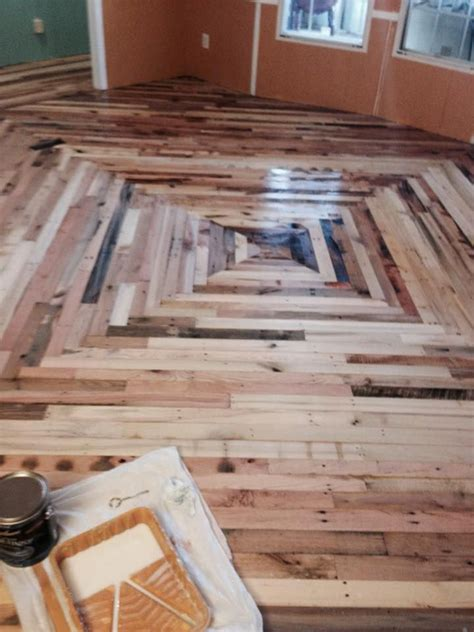 Diy Wood Pallet Hallway Floor Tiles