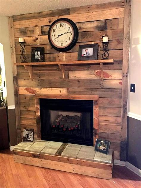 Diy Wood Pallet Wall With Fireplace
