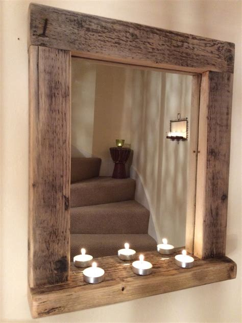 Diy Wood Picture Shelf In Front Of Mirror