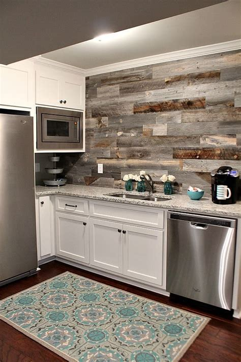 Diy Wood Plank Backsplash Kitchen