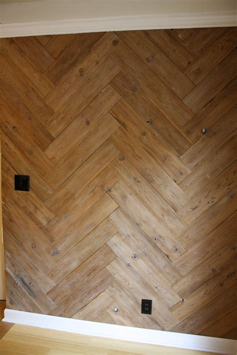Diy Wood Plank Wall Herringbone Pattern
