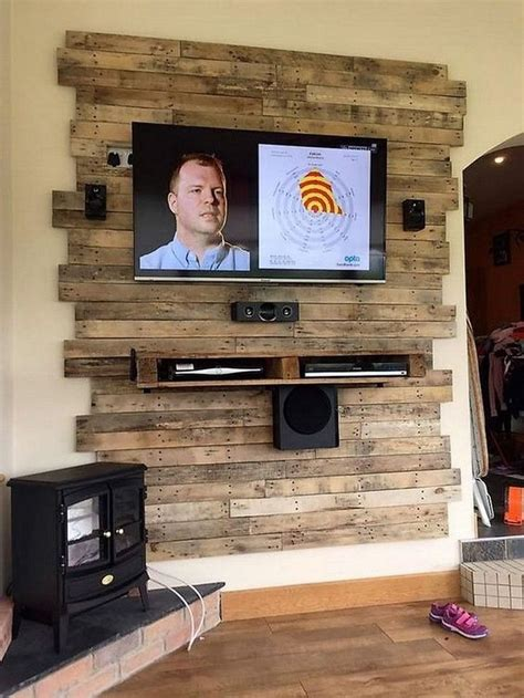Diy Wood Planks Behind Tv Cabinet