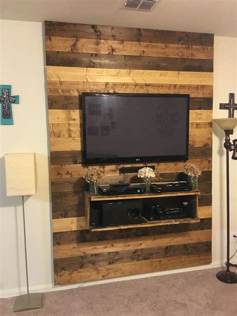 Diy Wood Planks Behind Tv Wall